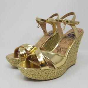 Guess Gold Platform Heels Size 7